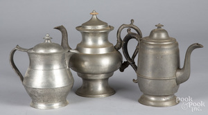 Pewter pitcher marked Dunham
