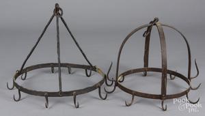 Two wrought iron hanging pot racks