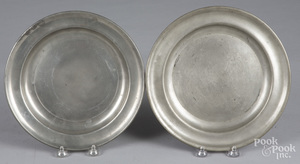 Two Massachusetts pewter plates