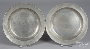 Two Philadelphia pewter deep dishes