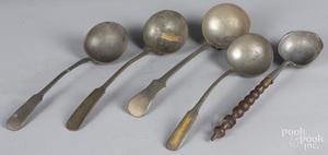Five pewter ladles