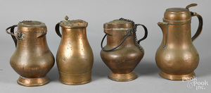 Four copper tankards