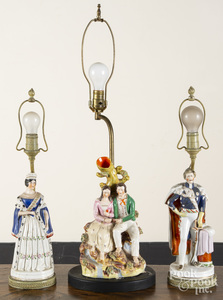 Three Staffordshire table lamps