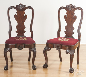 Pair of Chippendale style walnut side chairs