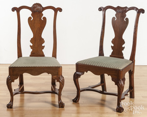 Two Queen Anne style cherry chairs