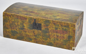 New England painted basswood dome lid trunk