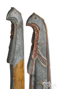 Pair of folk art painted horse hames