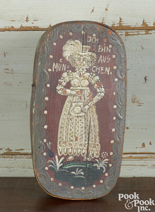 German painted bentwood brides box