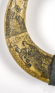 Scrimshaw decorated steer horns