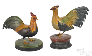 Two Frank Finney carved and painted roosters