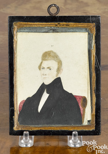 American miniature folk art watercolor portrait
