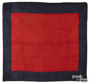 New England blue and red linsey woolsey quilt