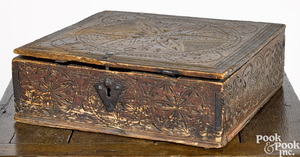 Continental carved pine lock box
