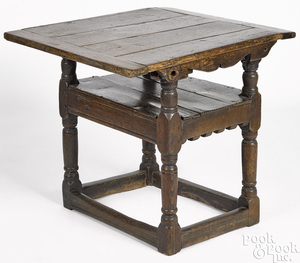 William and Mary oak flip top table