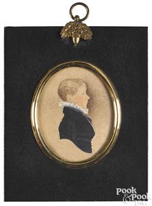 Set of three miniature portraits