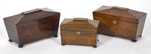 Three English Regency tea caddies