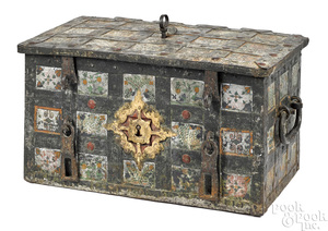 Spanish or German painted iron strong box