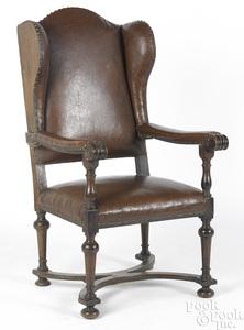 Jacobean over upholstered oak armchair