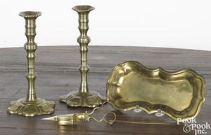 Pair of Georgian brass pedal base candlesticks