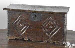 Diminutive Jacobean carved oak blanket chest