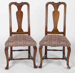 Pair of New England Queen Anne maple dining chairs