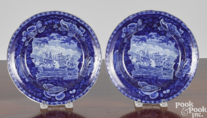 Pair of Historical blue Staffordshire plates