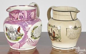 Two Sunderland creamware pitchers
