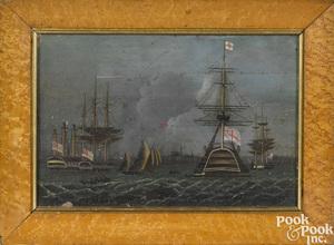 English oil on tin maritime scene
