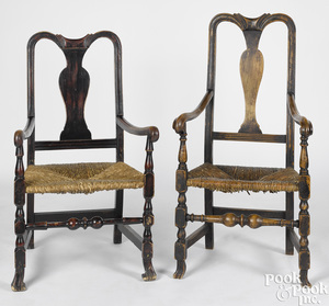 Two similar New England Queen Anne armchairs