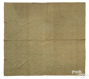 New England olive green and tan quilt