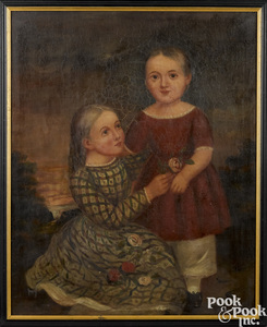 Oil on canvas portrait of two young children