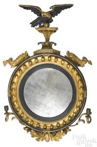Giltwood convex mirror