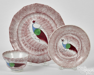 Red spatter peafowl plate and cup and saucer