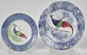 Blue spatter peafowl cup plate and toddy plate