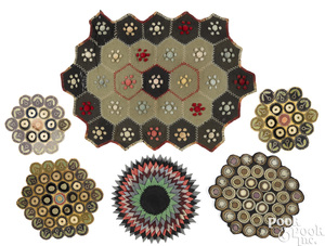 Six penny rug and penny rug style doilies