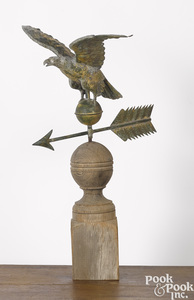 Full bodied copper eagle weathervane