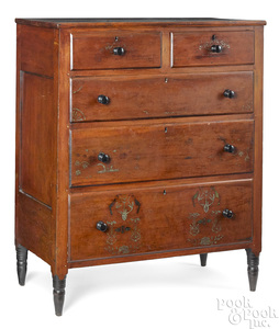 Pennsylvania painted cherry chest of drawers
