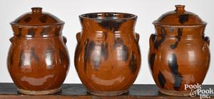 Three New England redware jars
