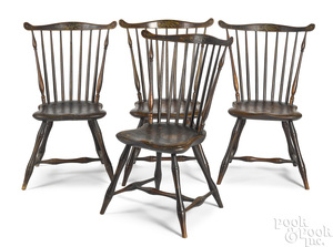 Set of four painted fanback Windsor chairs
