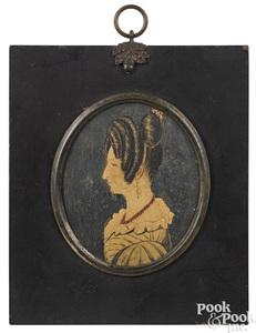 American miniature watercolor profile portrait