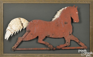 Painted sheet iron running horse weathervane