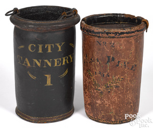 Two American painted leather fire buckets