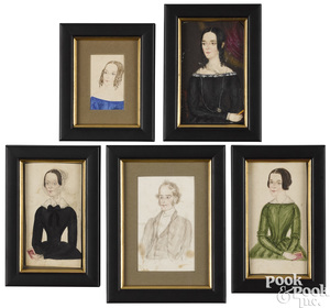Five miniature watercolor and pencil portraits