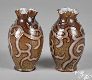 Pair of Loetz Octopus vases
