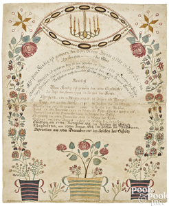 Ink and watercolor fraktur family record