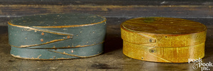 Two New England miniature oval bentwood pantry boxes