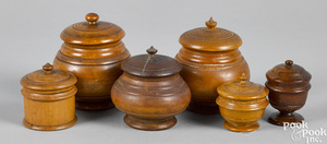 Group of six peaseware covered canisters