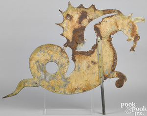 Sheet iron hippocampus weathervane