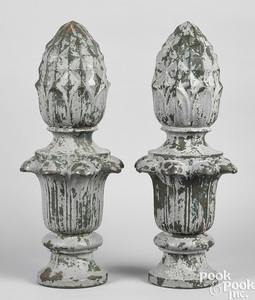Pair of cast iron architectural pineapple finials