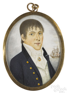 American miniature watercolor on ivory portrait